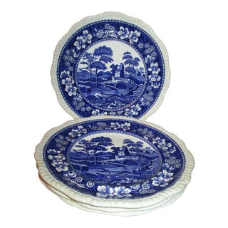 1920s Copeland Spode Blue Tower Dinner Plates From England - Set of 7 For Sale