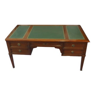 French Cherry Executive Desk With Embossed Green Leather Top For Sale