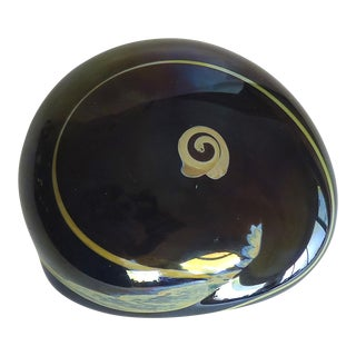 Late 20th Century Contemporary Joan Reep Black Glass Paper Weight For Sale