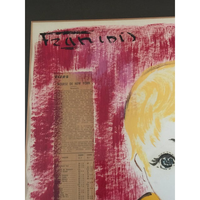 1960s 1960s Vintage Francois Paris Girl and Boy Portraits Mixed Media Paintings - A Pair For Sale - Image 5 of 13