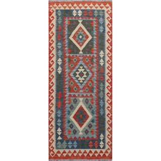 "Pakistani Multicolor Handwoven All Wool Colorful Reversible Kilim Carpet - 2'9"" X 6'8"" For Sale"