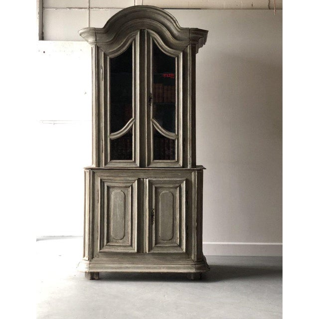 French Painted Two Part Cabinet For Sale - Image 9 of 9
