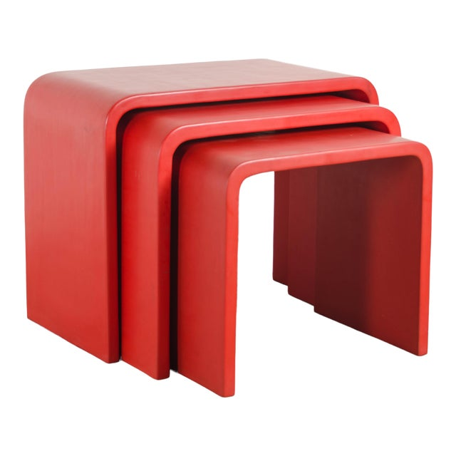 Waterfall Nesting Tables - Red Lacquer by Robert Kuo, Hand Made, Limited Edition For Sale