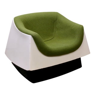 Space Age Fiberglass Upholstered Lounge Arm Chair Attributed to Vecta Group For Sale