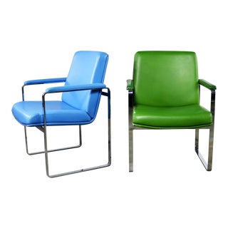 Mid Century Modern Chromcraft Flat Bar Chrome Chairs One Blue One Green Vinyl For Sale