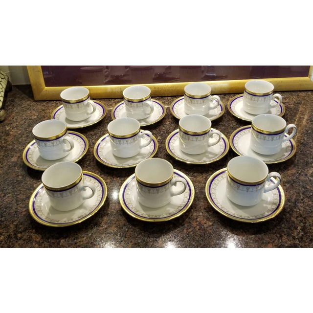 Traditional Collection of Eleven German Porcelain Demitasse Cups and Saucers For Sale - Image 3 of 9