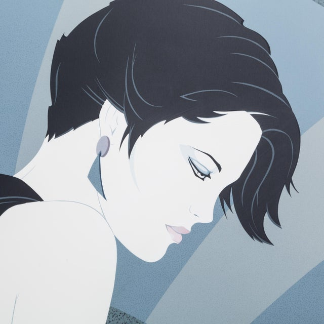 Patrick Nagel A Framed Art Deco Style Limited Edition Print of a Woman 1980s For Sale - Image 4 of 5