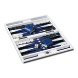 Image of Lacquer Backgammon Set in White and Blue For Sale