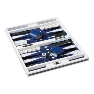 Lacquer Backgammon Set in White and Blue
