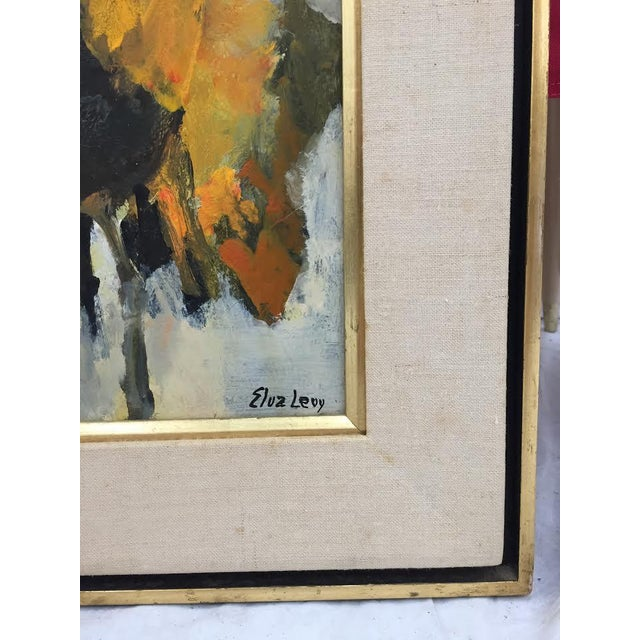 Vintage Original Elva Levy Framed & Signed Sunflower Painting For Sale In Raleigh - Image 6 of 11