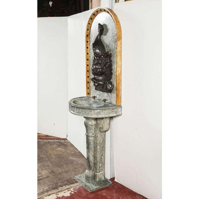 French 19th Century French Marble Fountain with Iron Dolphin & Mosaic Decor For Sale - Image 3 of 10