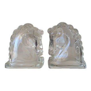 Art Deco Glass Horse Head Bookends - a Pair For Sale