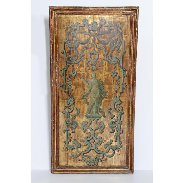 18th century Italian Neoclassical Paint and Parcel Gilt Panels / Roman Goddesses / Muses - Image 6 of 10