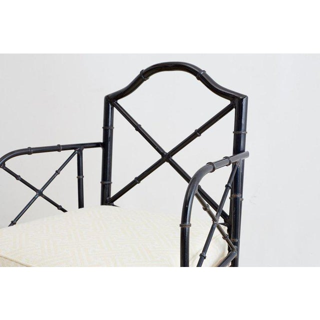 White Chinese Chippendale Faux Bamboo Iron Garden Chairs For Sale - Image 8 of 13