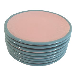 Century Stoneware Rio Pink & Turquoise Salad Plate - Set of 6 For Sale