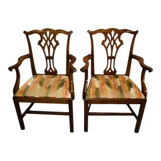 Pair of Vintage Solid Mahogany Chippendale Style Arm Chairs For Sale