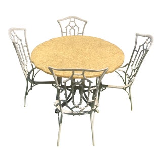 Vintage Kessler Faux Bamboo Chinoiserie Patio Set- 5 Pieces For Sale