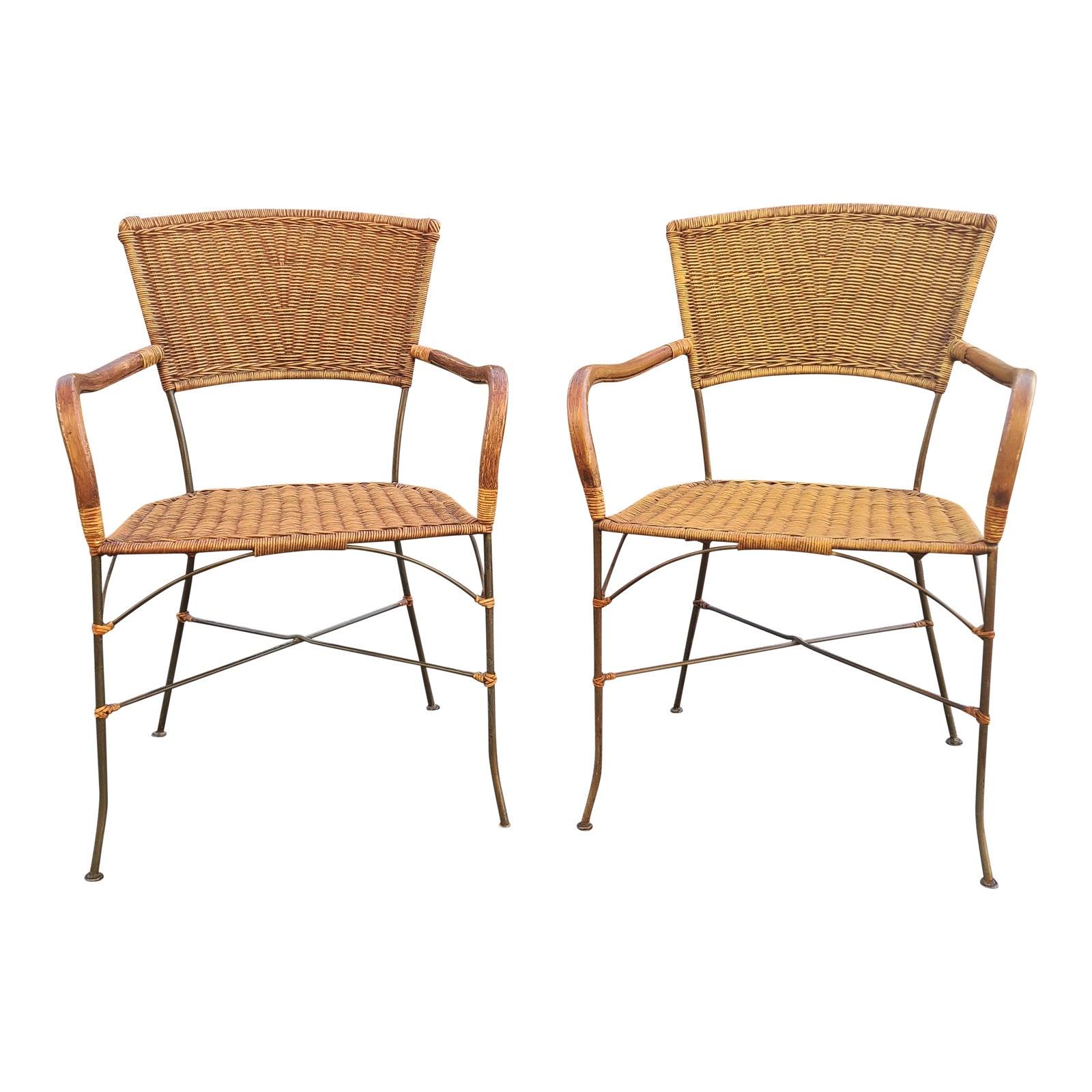 Vintage Wrought Iron Wicker Rattan Armchairs A Pair Chairish