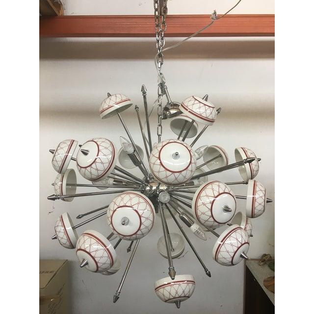 Italian Hand Made Painted Ceramic Sputnik Chandelier For Sale - Image 10 of 10