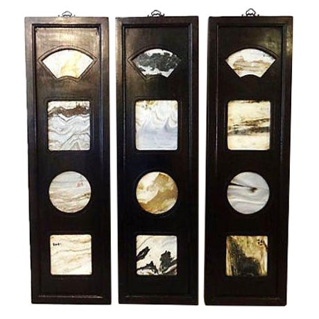 Chinese Framed Dream Stones - Set of 3 For Sale