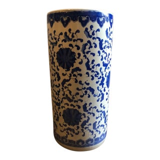 Blue & White China Umbrella Vase For Sale