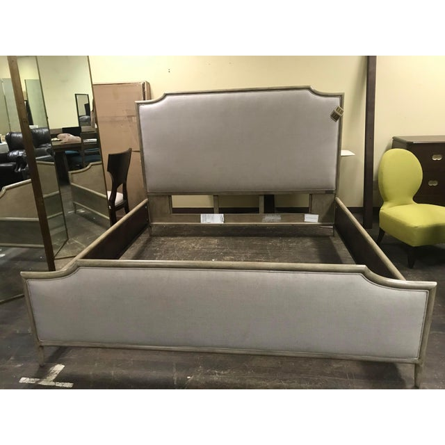 Gray Henredon Furniture 1945 Collection Catherine Grey Makore Upholstered King Panel Bed For Sale - Image 8 of 12