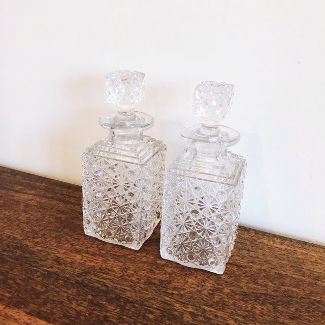 Shabby Chic Glass Decanters, Set of 2 For Sale - Image 3 of 8