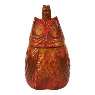 1968 Scarpino Signed Hooded Owl Ceramic Cookie Jar For Sale