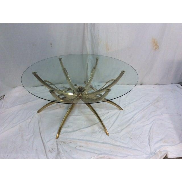 Midcentury Brass Spider Leg Lotus Coffee Table - Image 3 of 7