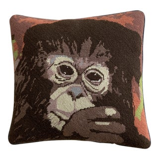 Vintage Mid Century Monkey Needlepoint Pillow For Sale