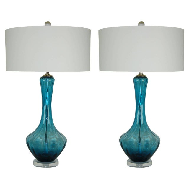 Vintage Italian Glass Petticoat Table Lamps Teal Blue For Sale - Image 10 of 10