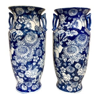 Pair of 1950s Asian Blue & White Porcelain Vases For Sale