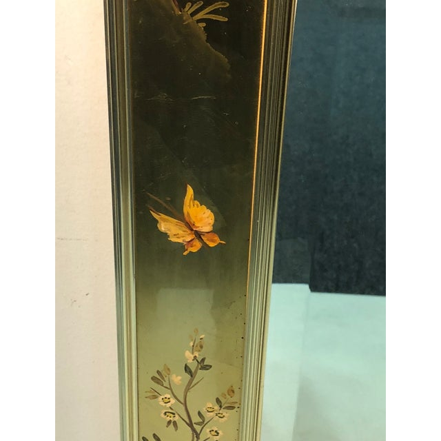 Mid-Century Modern La Barge Hand Painted Gold Leaf Eglomise Mirror For Sale - Image 3 of 9