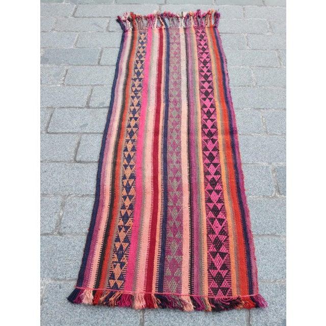 Colorful Striped Cicim Kilim -5' X 1' 5'' Kilim - Image 11 of 11