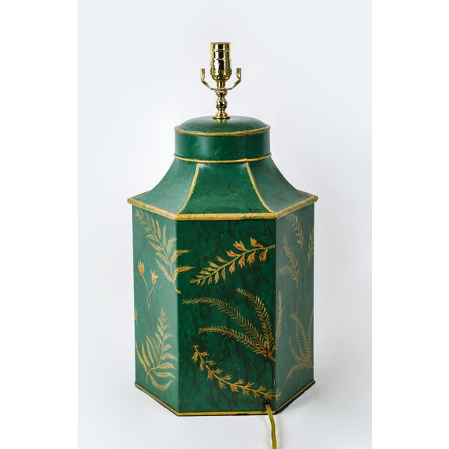 Metal Vintage English Export Painted With Ferns Leave Style Green Hexagonal Tea Caddy Lamp For Sale - Image 7 of 9