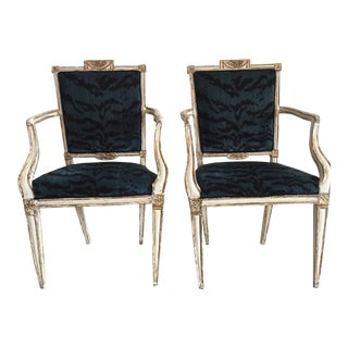 18th Century Neoclassical Century Painted White and Gold Arm Chairs - a Pair
