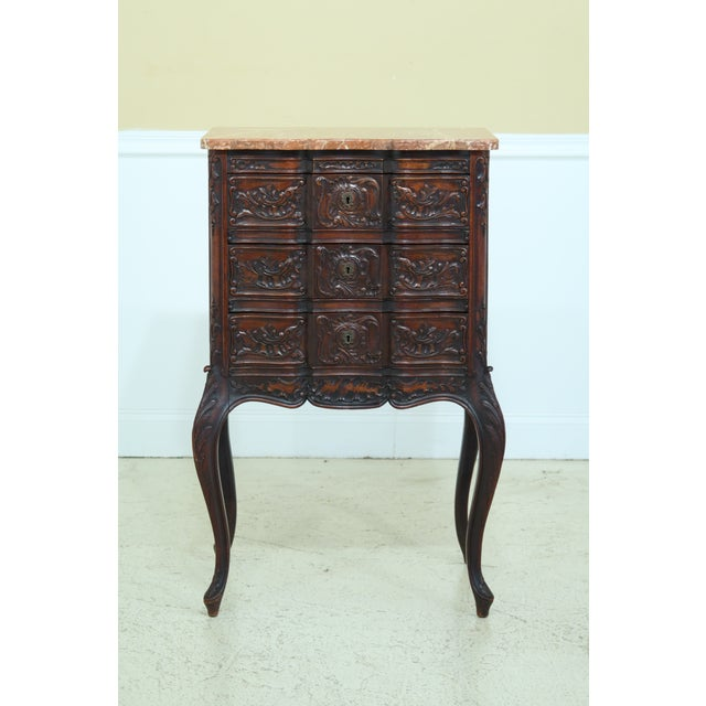 Vintage French Louis XV Marble Top Walnut Chest For Sale - Image 13 of 13