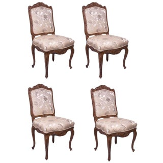 Set of 19th Century Louis XV Style Oak Side or Dining Chairs