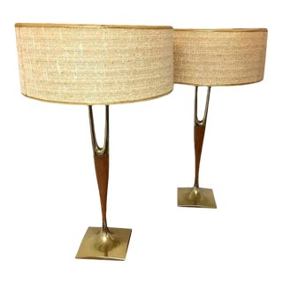 Pair of Walnut and Brass Lamps by Laurel Lamp Company With Original Shades For Sale