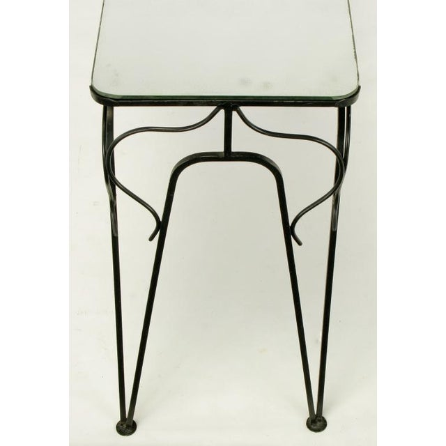 Salterini Attr. Black Wrought Iron & Mirror Top Petite Console For Sale - Image 9 of 10