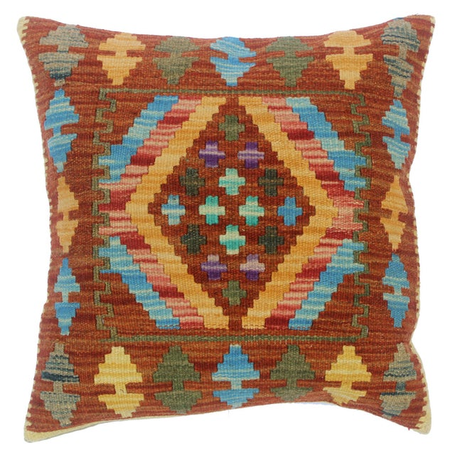 "Clementi Rust/Lt. Blue Hand-Woven Kilim Throw Pillow(18""x18"") For Sale In New York - Image 6 of 6"