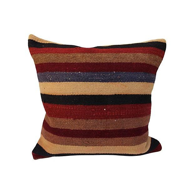 Boho Chic Striped Turkish Kilim Pillow For Sale - Image 3 of 4