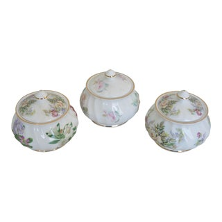 Small English Royal Patrician Lidded Sugar Bowls - Set of 3 For Sale