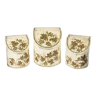 French Antique Tole Canisters Hand Painted Gold/Cream Painted French Cachepots - Set of 3 For Sale