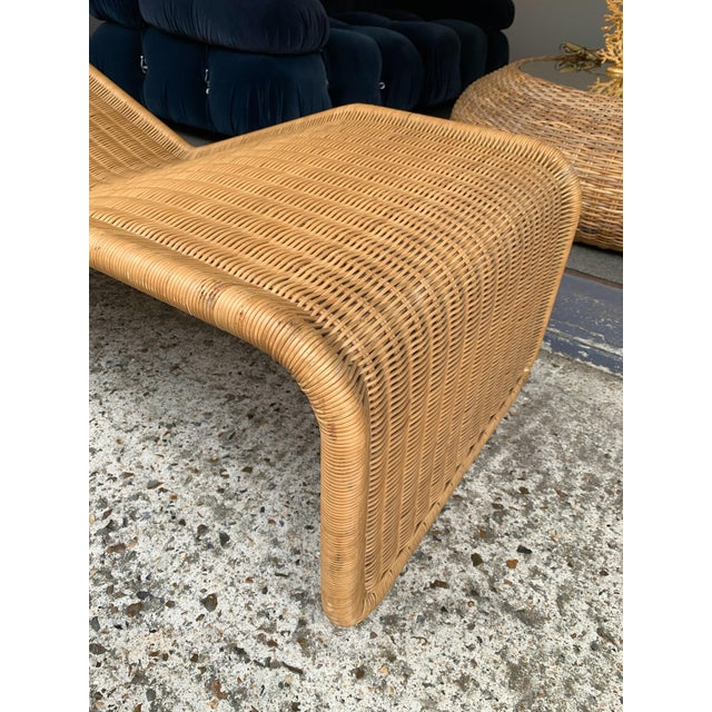 1970s 1970s Italian Rattan Chaise Longue Lounger Chair P3 by Tito Agnoli For Sale - Image 5 of 11