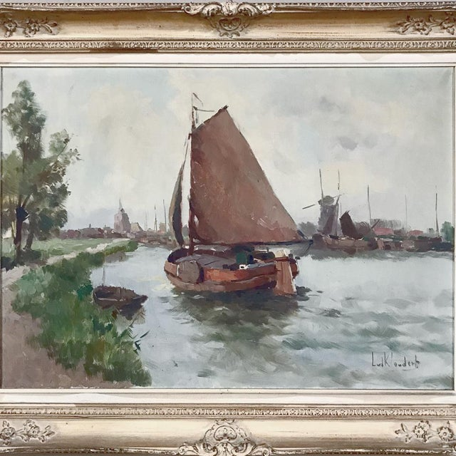Antique Framed Oil Painting on Canvas depicts the beginning of a daily fishing trip with a gaff-rigged dory running before...