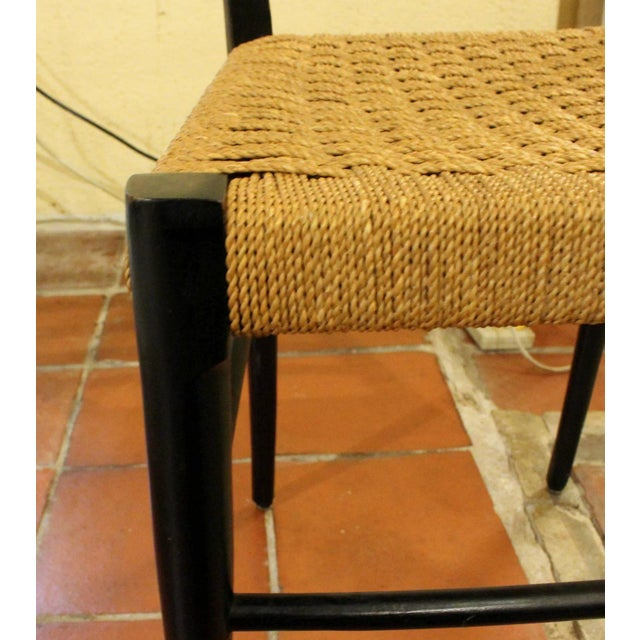 Mid 20th Century Gio Ponti Style Ladder Back Chairs - Set of 4 For Sale - Image 5 of 7