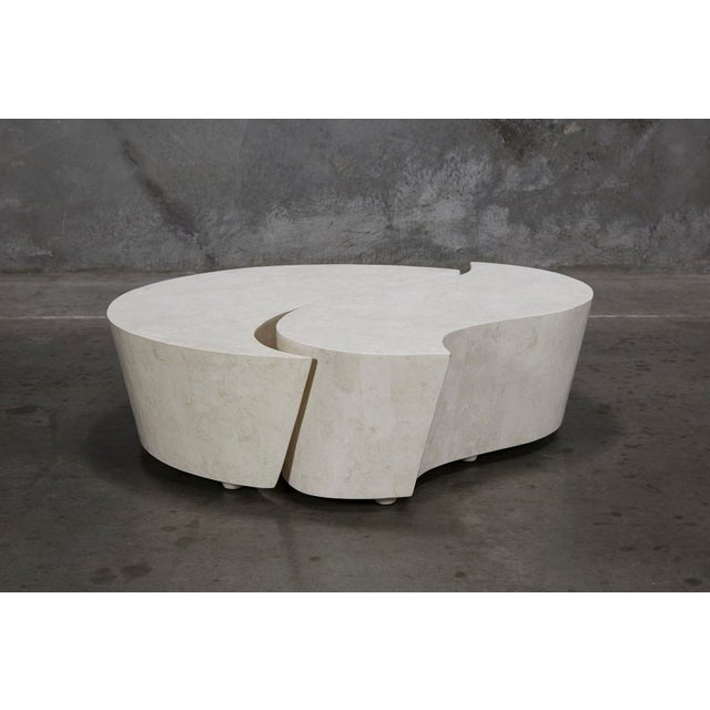 """1990s Contemporary Freeform White Stone Two Part """"Hampton"""" Coffee Table For Sale - Image 11 of 13"""