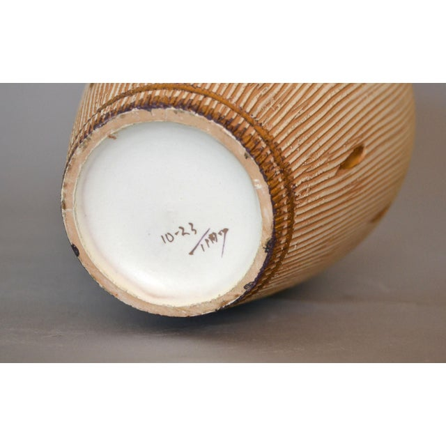 Gold Italian Mid-Century Modern Gold Leaf & Beige Hand-Crafted Ceramic Glazed Vase For Sale - Image 8 of 11