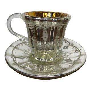 Antique Mercury Glass Handled Tea Cup and Saucer For Sale